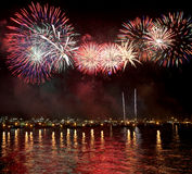 Fireworks reflect on sea water Royalty Free Stock Photo