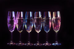 Fireworks reflected in the glasses Royalty Free Stock Photo