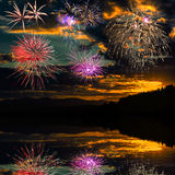 Fireworks reflected in the water of the river Royalty Free Stock Photography