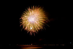 Fireworks reflecting in the water In Forte dei Marmi Stock Images