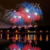 Fireworks reflection. Fireworks reflecting in the pond Royalty Free Stock Photography