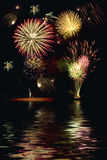 Fireworks with reflection Stock Photos