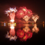 Fireworks with reflection Stock Photography