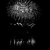 Fireworks with reflection on lake. Vector Fireworks with reflection on lake Royalty Free Stock Photos