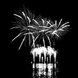 Fireworks with reflection on lake. Vector Fireworks with reflection on lake Royalty Free Stock Image