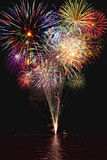 Fireworks with Reflections Royalty Free Stock Photography