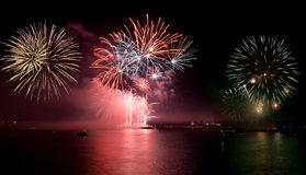 Fireworks with reflections Stock Photography