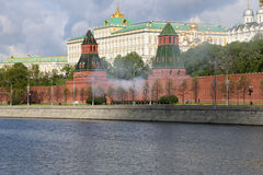 Fireworks. Rehearsal of military parade. Moscow, Russia Stock Images