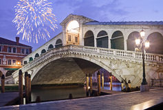 Fireworks at Rialto Bridge Royalty Free Stock Photos