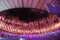 Fireworks during Rio 2016 Olympics Opening Ceremony at Maracana Stadium in Rio de Janeiro. RIO DE JANEIRO, BRAZIL - AUGUST 5, 2016: Fireworks during Rio 2016 Stock Photo