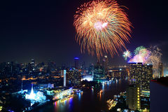 Fireworks on the River of city. Bird eyes view fireworks Festival on Chaophaya River, Bangkok, Thailand Royalty Free Stock Images