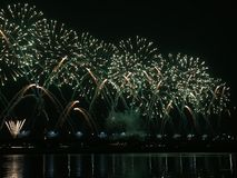 Fireworks on river. That glorious moment Stock Photo