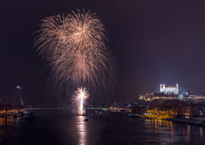 Fireworks on the River Royalty Free Stock Photography