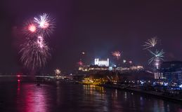 Fireworks on the River. New Year Celebration. Fireworks on the River in Bratislava, Slovakia stock photo