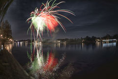 Fireworks on the river, Seso Calende Stock Image