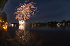 Fireworks on the river, Seso Calende Royalty Free Stock Images