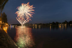 Fireworks on the river, Sesto Calende Stock Photo