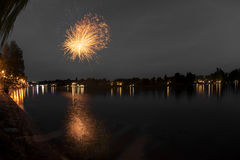 Fireworks on the river, Sesto Calende Stock Photography