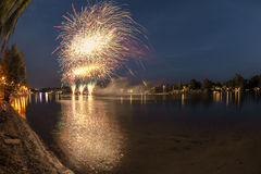 Fireworks on the river, Sesto Calende Royalty Free Stock Photography