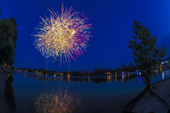 Fireworks on the river Ticino, Sesto Calende - Varese Royalty Free Stock Image