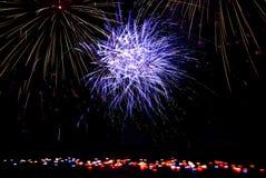 Fireworks on the River Vltava. Spouting fireworks on the river Vltava in Prague Stock Photos