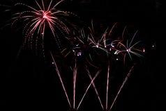 Fireworks on the River Vltava. Spouting fireworks on the river Vltava in Prague Royalty Free Stock Image