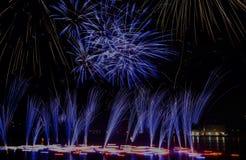 Fireworks in Prague. Fireworks on the river Vltava in Prague Stock Images