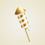 Fireworks rocket. Golden fireworks rocket with sparkling stars on beige background, illustration Royalty Free Stock Photos