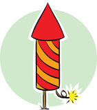 Fireworks Rocket. A lit, cartoon fireworks rocket Stock Photos