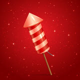 Fireworks rocket on red background. Fireworks rocket on red starry background, illustration Royalty Free Stock Images