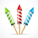 Fireworks rocket set. Vector. Fireworks rocket set. The attribute of fun. Vector illustration Stock Photo