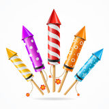 Fireworks Rocket Set. Vector. Fireworks Rocket Set of Different Color a Symbol of Holiday . Vector illustration Royalty Free Stock Images