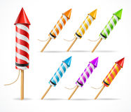 Fireworks rocket set. Vector Royalty Free Stock Photography