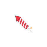 Fireworks rocket solid icon, flying firecrackers. Vector graphics, a colorful filled pattern on a white background, eps 10 Royalty Free Stock Images
