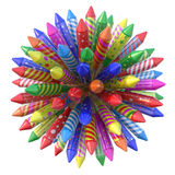 Fireworks rockets. In a spherical formation - 3D illustration stock illustration
