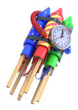 Fireworks rockets with the clock. 3D illustration Royalty Free Stock Photography