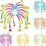 Fireworks, rockets, explosion, template, set, design Stock Image
