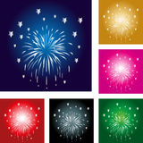 Fireworks, rockets, explosion, template, set, design Royalty Free Stock Images