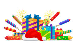 Fireworks, Rockets, Gift Boxes and Santas Hat Set Stock Image