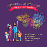 Fireworks Safety Infographic, People Look at Sky Royalty Free Stock Photo