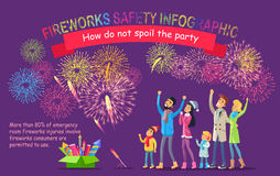 Fireworks Safety Infographic. People Look at Sky Stock Images