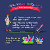 Fireworks Safety Infographic. Right Distance. Stock Images