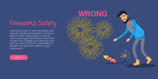 Fireworks Safety, Man Wrong Using Rocket on Ground. Fireworks safety, man is leaning to dangerous burning New Year rocket on ground on blue background. Vector Royalty Free Stock Photo