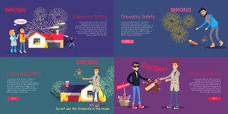 Fireworks Safety. Poster of Wrong Act and Danger. Fireworks safety. Web banner of wrong acting with pyrotechnics and danger during buying counterfeit. Vector set Stock Image