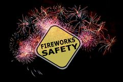 Fireworks Safety Reminder. Background before the Holidays Stock Photo