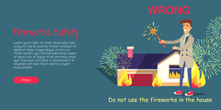 Fireworks Safety, Use Pyrotechnics only Outdoors. Vector cartoon illustration of man setting off pyrotechnics, blazing building and information inscription on Stock Images