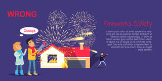 Fireworks Safety, Wrong Usage of Pyrotechnics. By children outdoors and burning house with getting away man. Vector illustration of improper fireworks using and Stock Photography