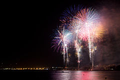 Fireworks in Salou. Every year on the 15th of August, Salou ends its summer festival (Nits Daurades) with a spectacular fireworks show Stock Photos