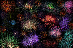 Fireworks salute background wallpaper Stock Photos