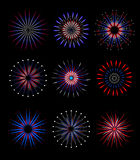 Fireworks, salute in traditional colors USA set of elements for your design. America s Independence Day, July 4, concept Stock Images